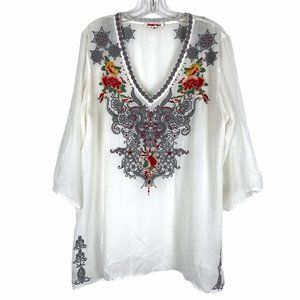 Johnny Was V Neck Embroidered Top Blouse Tunic